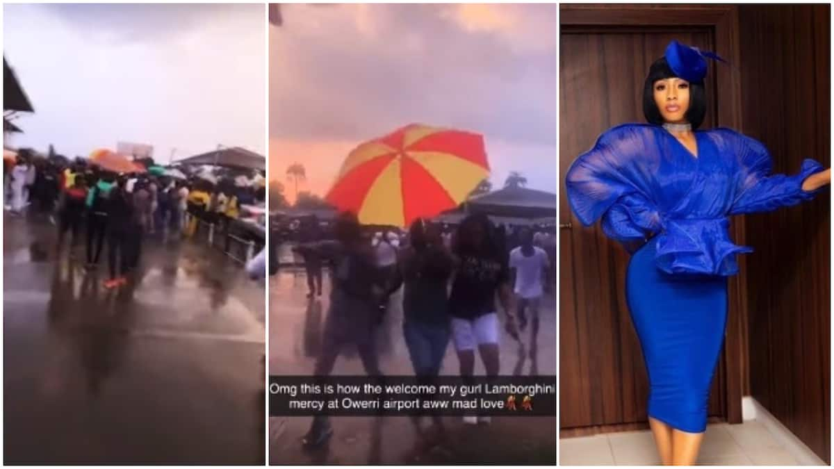 Mercy Eke's fans welcome her under the rain in Owerri - Latest News in Nigeria & Breaking Naija News 24/7 | LEGIT.NG