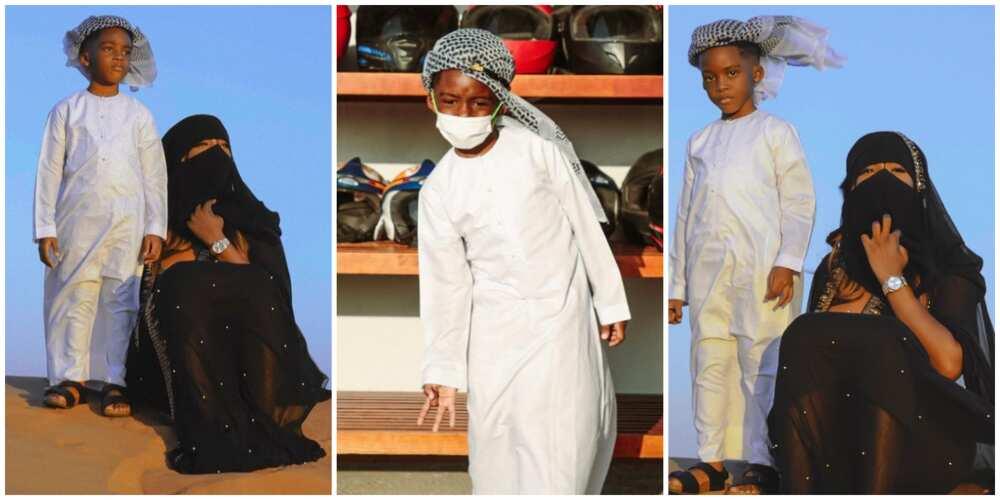 Singer Tiwa Savage and son Jamil go on a desert safari in Dubai