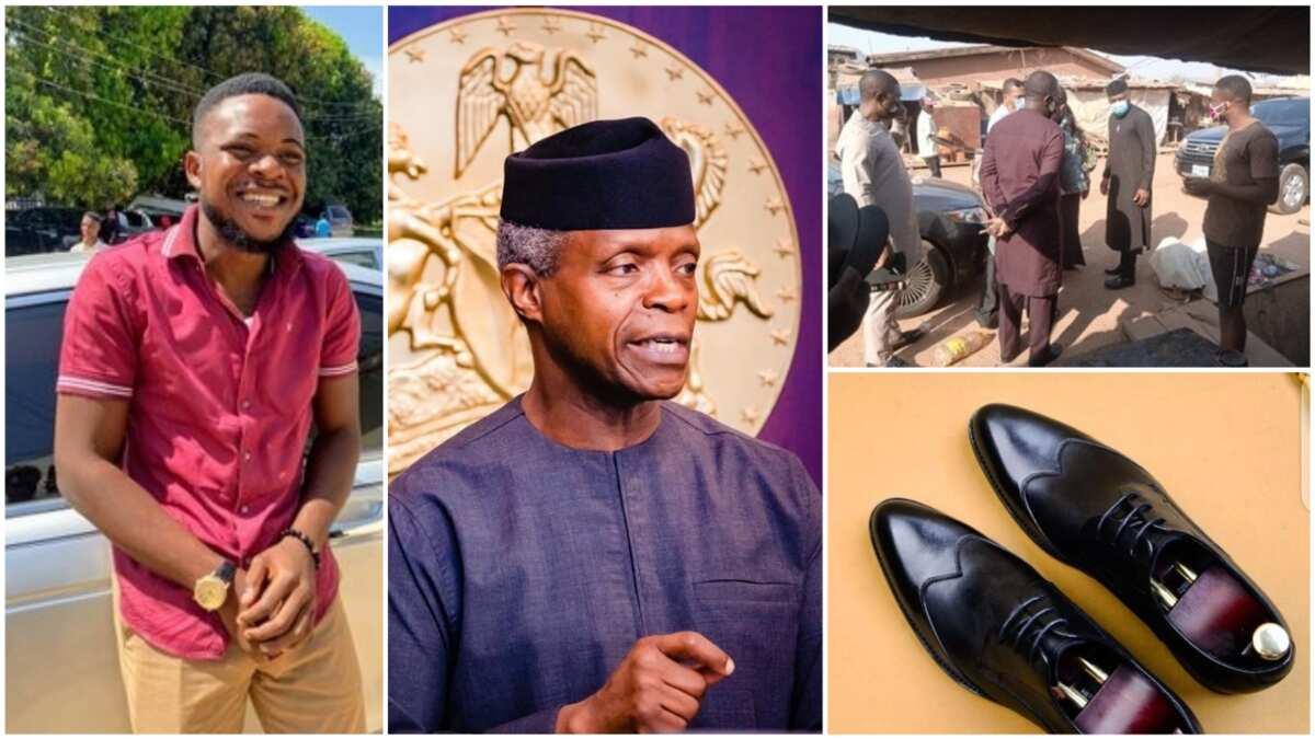 VP Yemi Osinbajo Supports Man's Shoe Business, Sends him Delegates