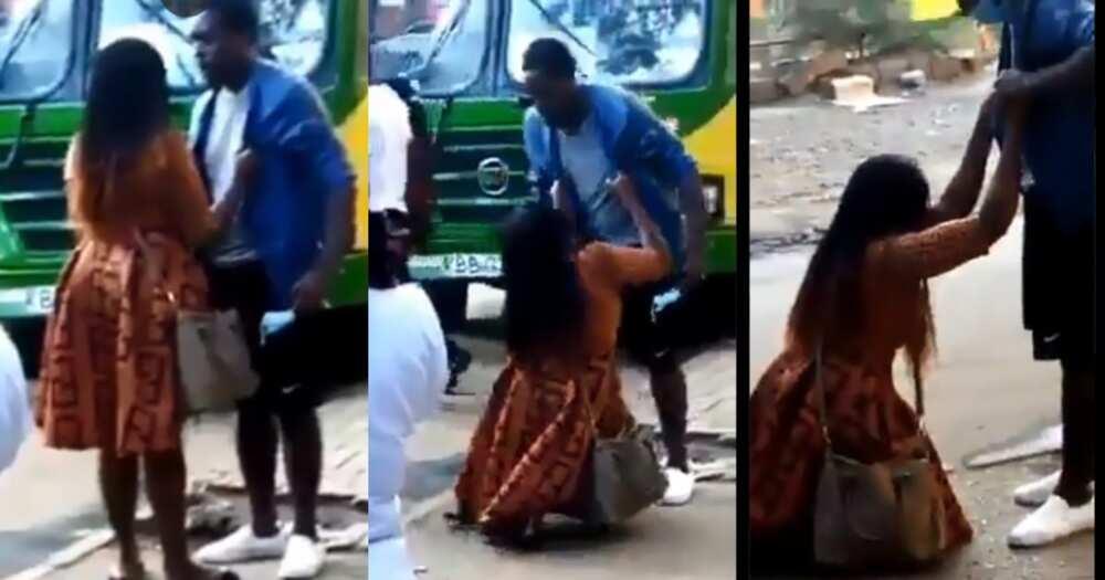 Video of Nairobi woman kneeling, sobbing to beg a man elicits reactions online
