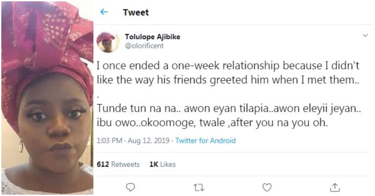 Lady shares the funny reason she ended her one week