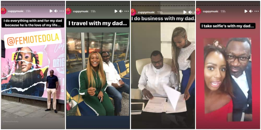 DJ Cuppy travels with her dad