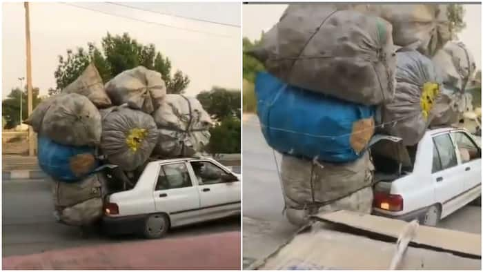 How dem load this car? Reactions as video of small vehicle overloaded like trailer goes viral