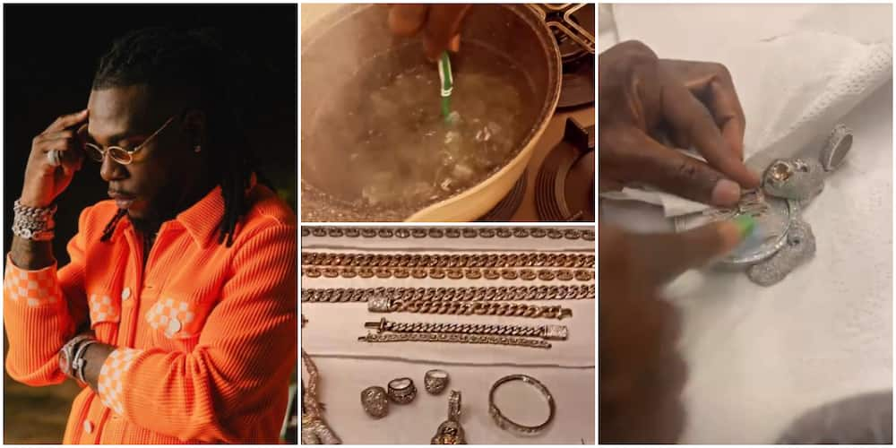 Burna Boy Flaunts Jewellery Collection on Social Media, Shares Video as He Washes Them Clean