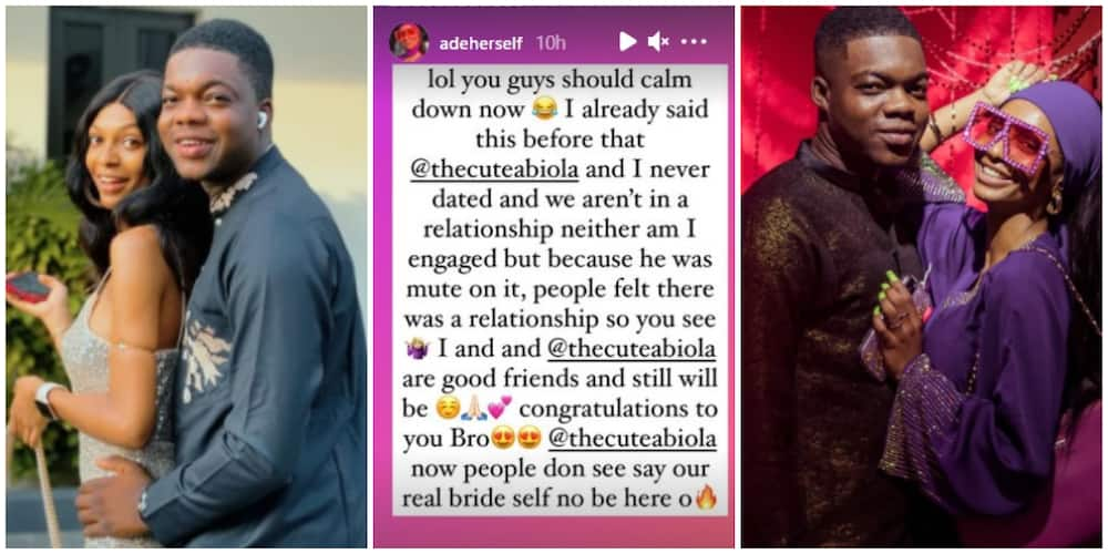 Lies: Reactions as Adeherself denies ever being in a relationship with Cute Abiola following his wedding