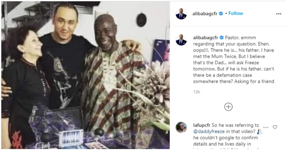 Daddy Freeze vs Pastor Ibiyeomie: Ali Baba pulls up photos of media personality and his parents