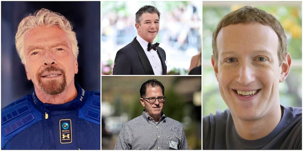 Richard Branson, Mark Zuckerberg and two other billionaires who were dropouts