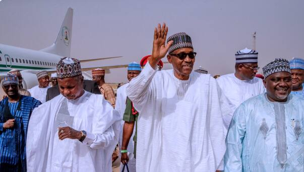 President Buhari heads to Daura ahead of the presidential election