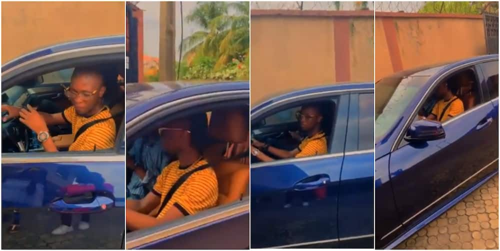 2020 BBNaija winner Laycon learns to drive in his Mercedes Benz (video)