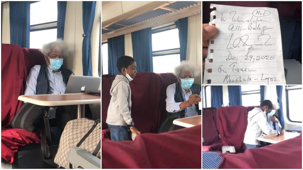 Confident kid approaches Wole Soyinka during train ride, asks for his autograph