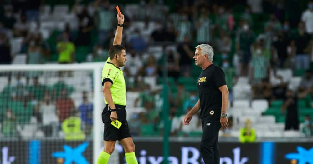 Roma boss Jose Mourinho sees the red card during the friendly football match played between Real Betis Balompie and AS Rome at Benito Villamarin stadium. (Photo By Joaquin Corchero/Europa Press via Getty Images)
