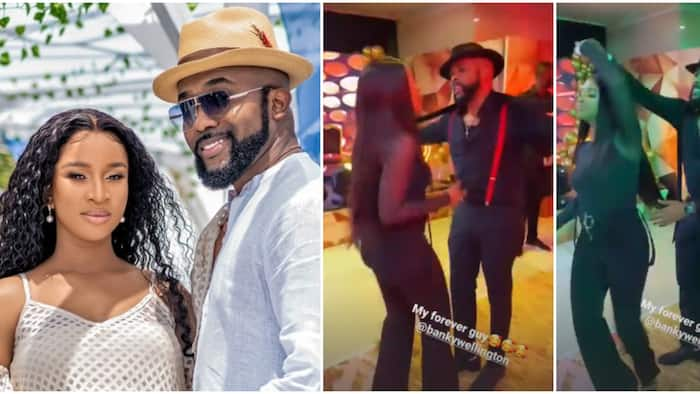 Nollywood sweethearts: Adesua Etomi whines for hubby Bank W on the dance floor as they attend birthday party