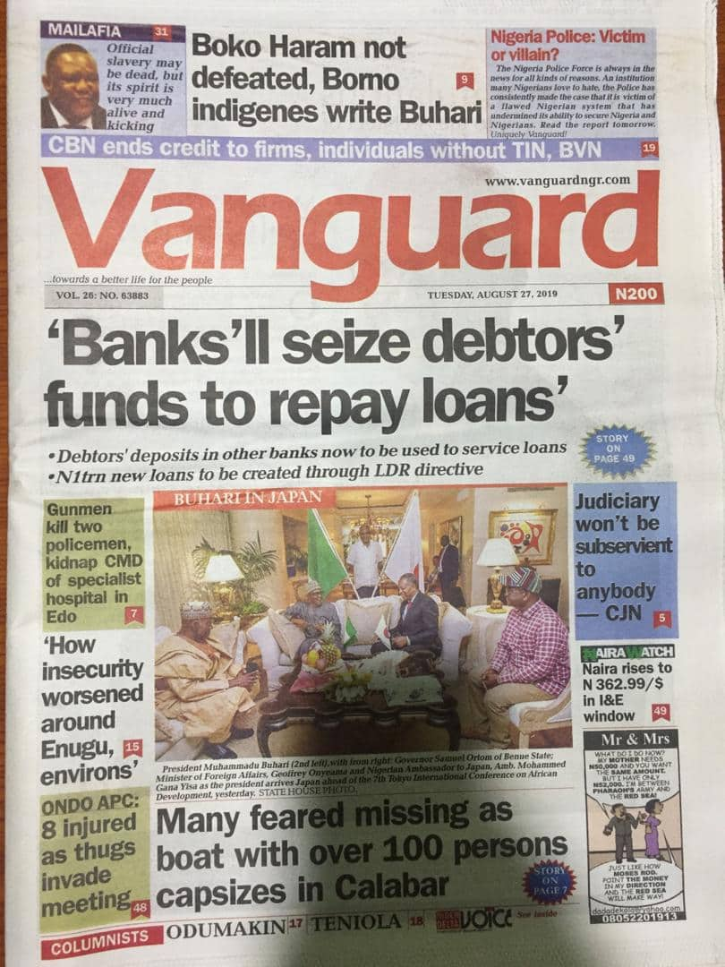 Nigerian newspaper review for August 27: Fresh worry over