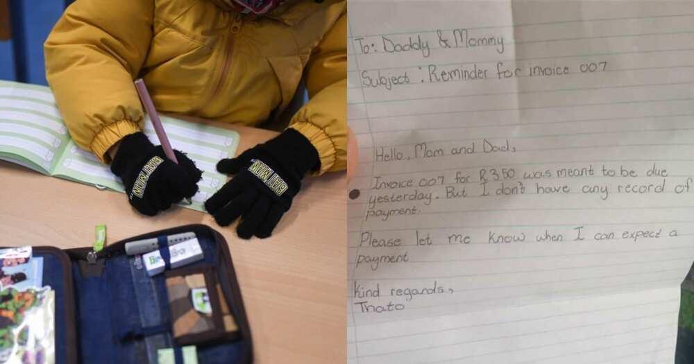 Kid sends parents 'letter of demand'