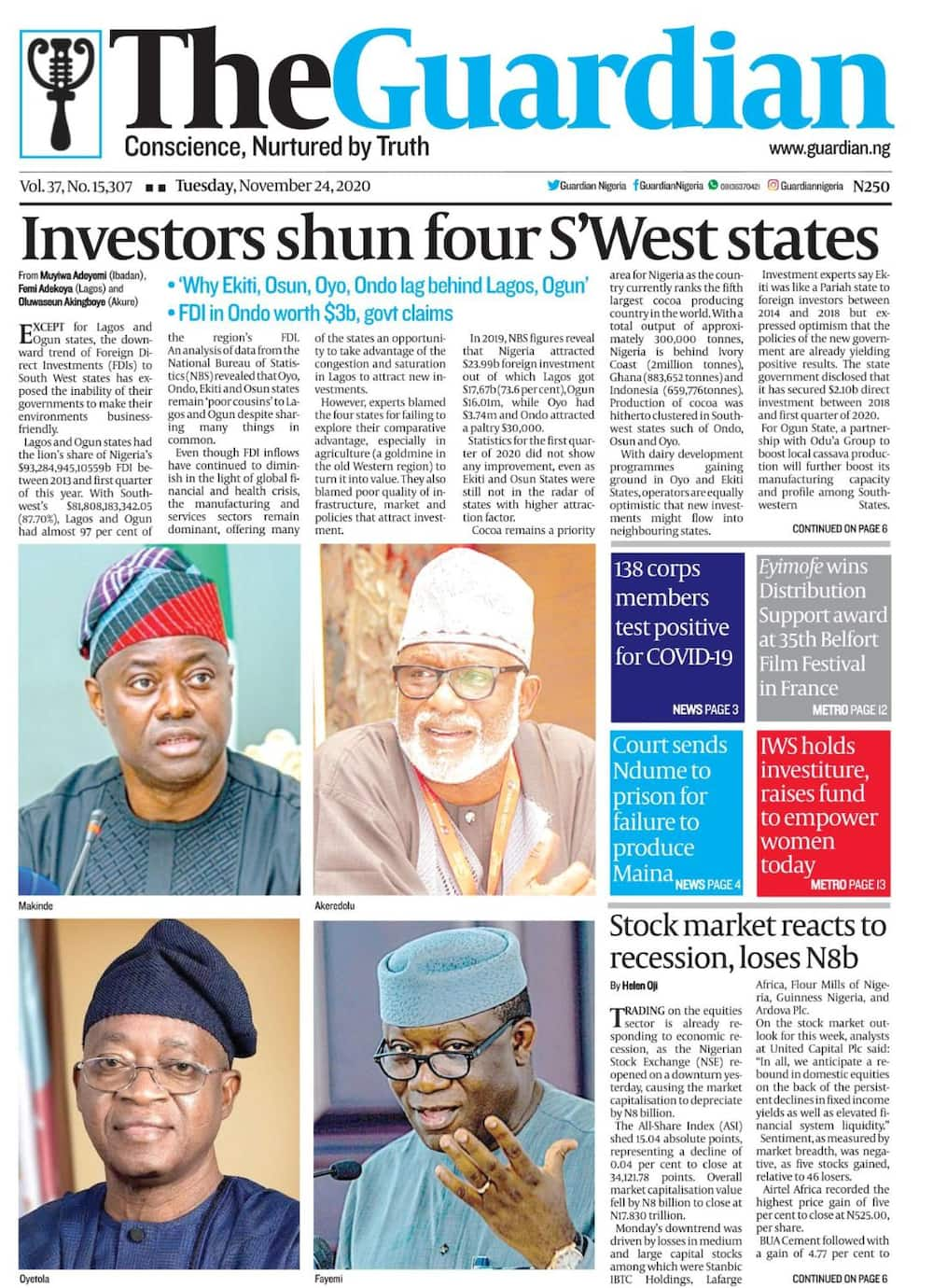 Newspapers review for Tue, Nov 24