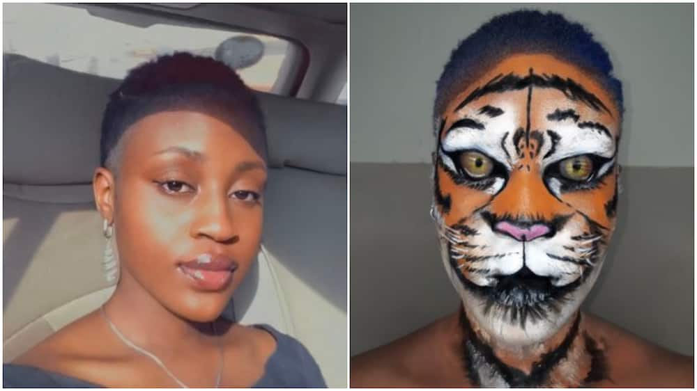 Nigerian lady paints her face to look like a tiger, photo goes viral