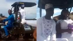 Couple cruises in tricycle on wedding day, many react as bride is overjoyed in heartwarming video