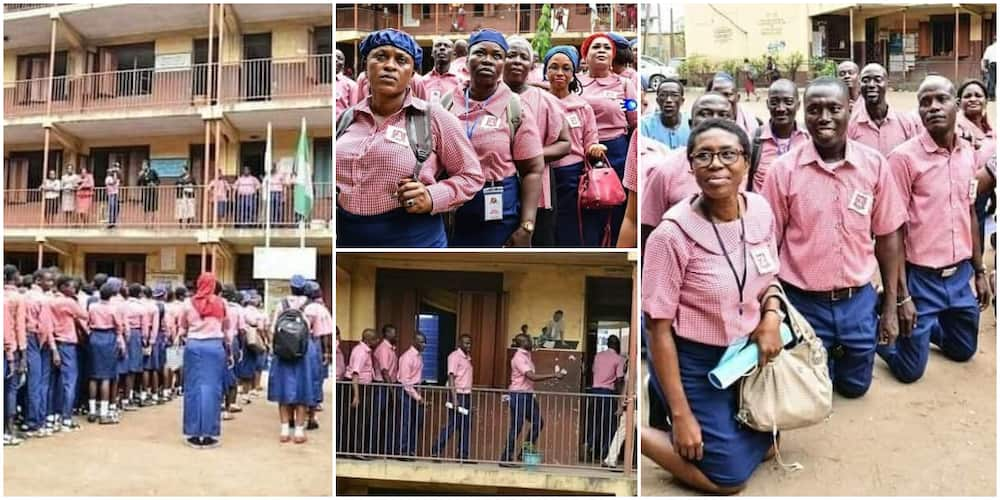 Reactions as old students storm their secondary school after 30 years, wear uniforms and and march to class