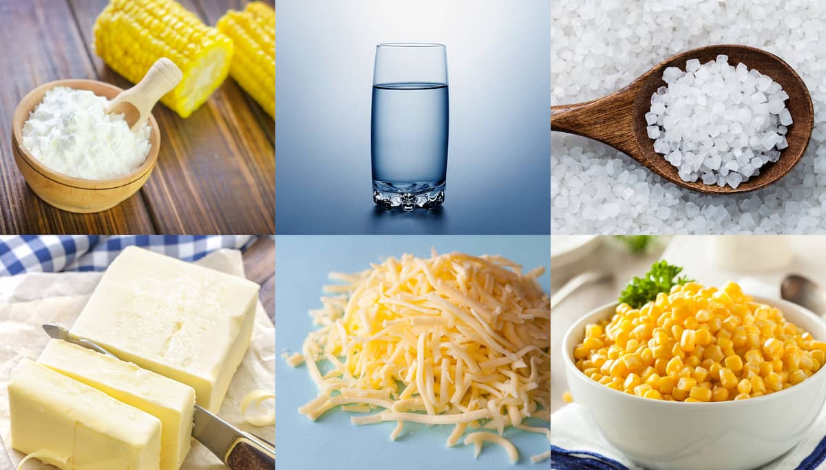 Ingredients for pap with cheese