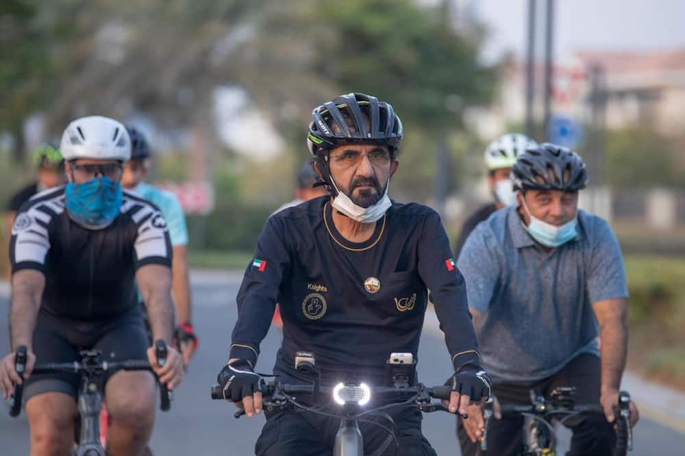 Sheikh Mohammed bin Rashid spotted cycling around Dubai - in pictures