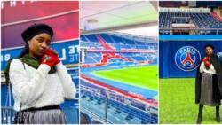 Actress Rahama Sadau visits PSG Stadium, says she felt Neymar and Mbappe's presence (photos)