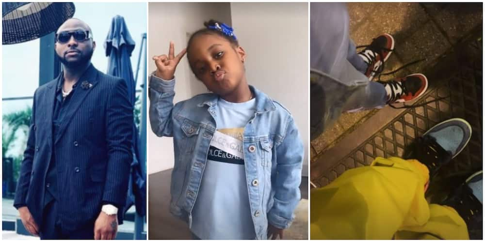 Davido spends quality time with daughter Hailey as they rock matching shoes