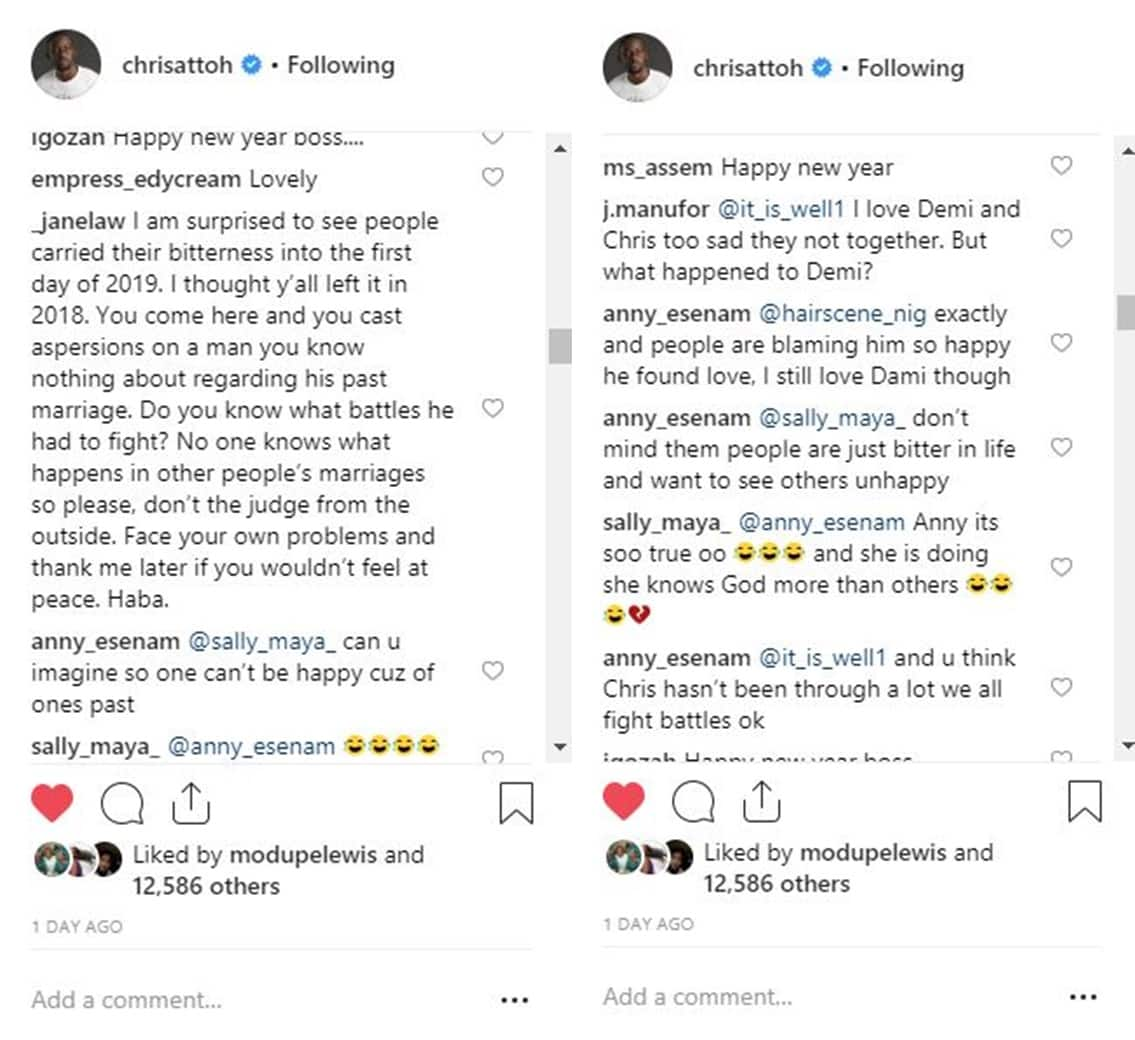 Actor Chris Attoh stylishly shades ex-wife Damilola Adegbite in New Year's post (photo)
