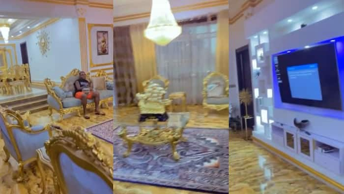 Emmanuel Emenike shows off multimillion naira living room with golden chairs, crystal lighting