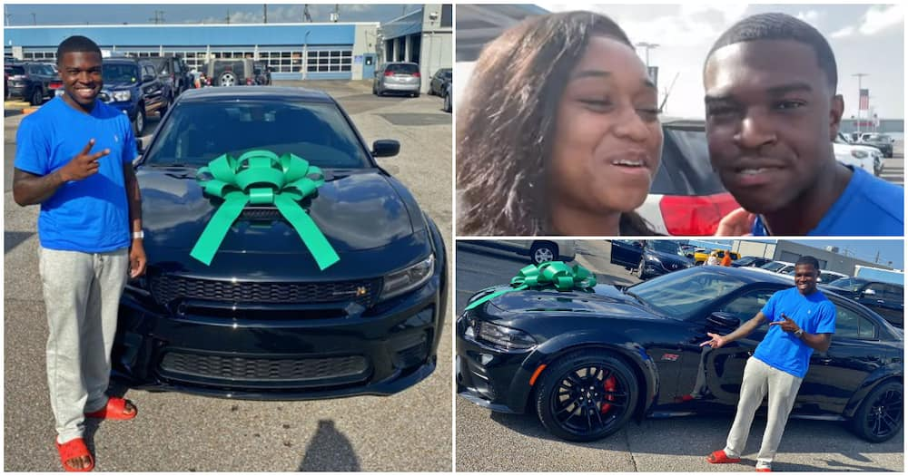 Social media users left in awe as wife splashes millions on a brand new car for her husband (photos)