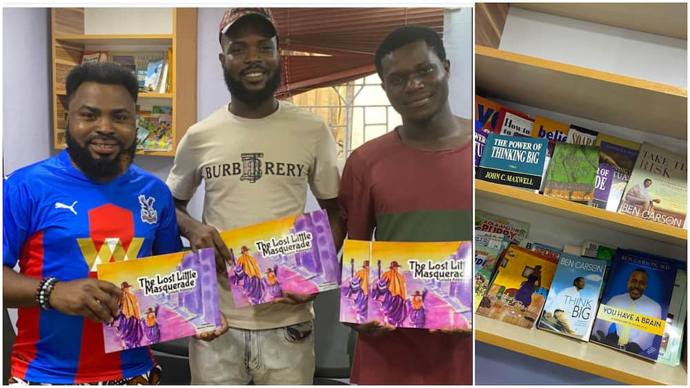 Barber with bookshelf in his shop get book donations from kind Nigerians