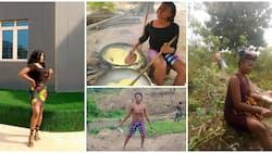 Beautiful Nigerian lady who makes living by frying garri showcases her work, photos surprise many
