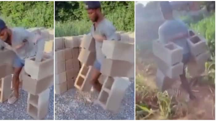 Man shows great strength as he carries 6 bricks at once, video sparks mixed reactions