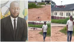 Nigerian student builds surveillance drone as final year project, flies it inside the school in video