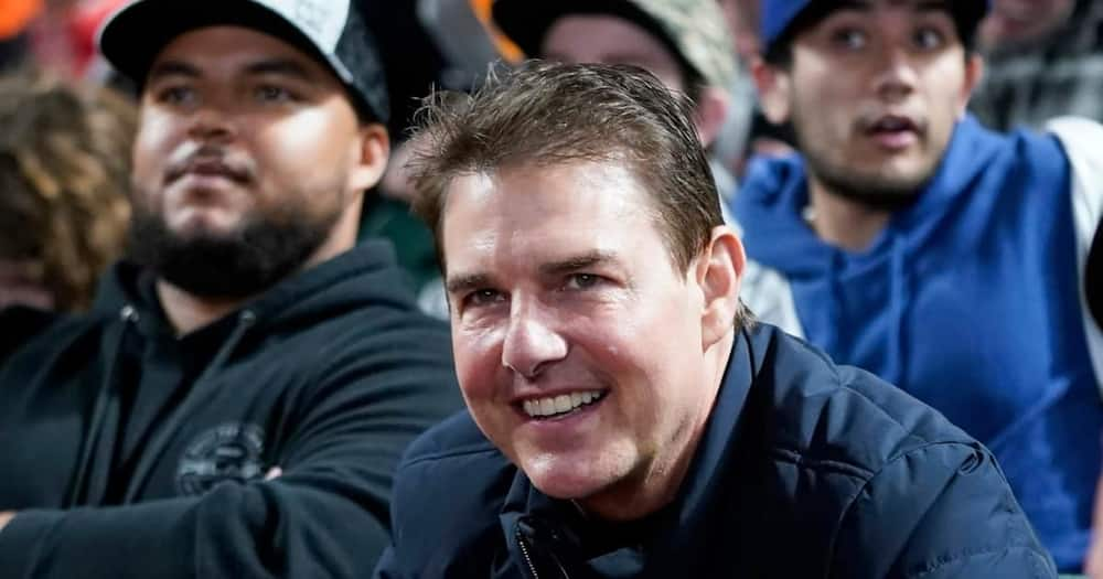 Tom Cruise spotted looking diffrent at baseball game.