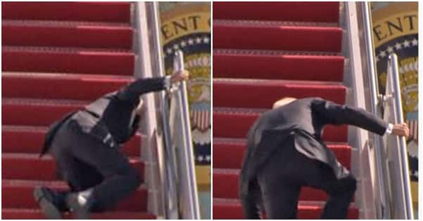 Serious apprehension in America as video shows President Biden falling on aeroplane stairs