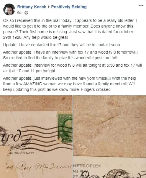 Snail mail: Woman receives postcard 100 years after it was mailed