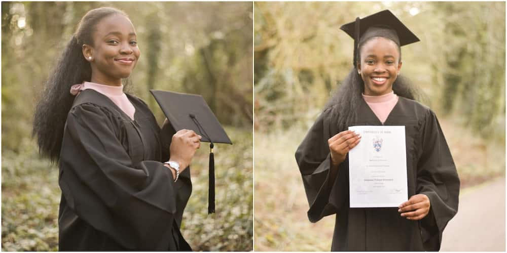 Nigerians celebrate young lady who graduated with 1st class in Economics and Finance from York University