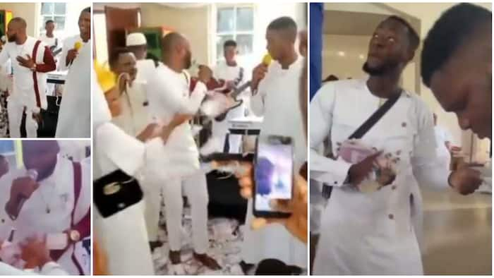 Drama in church as family members surround chorister, 'embarrass' him with cash, people stare in video