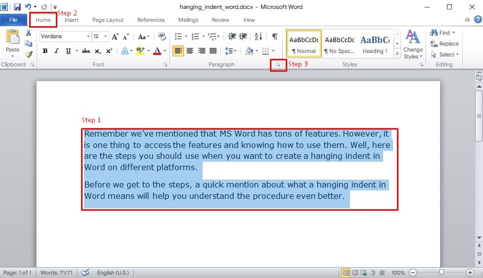how to do a hanging indent on Word