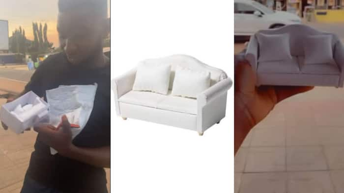 Man Orders sofa for N10k online, waits one month only to receive palm-sized couch