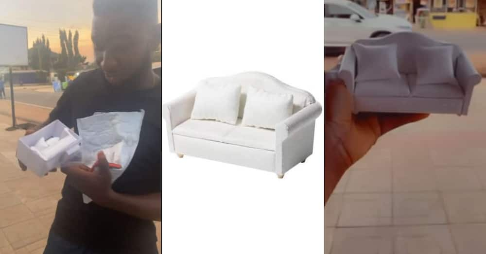Man orders sofa online for GHc 150; receives it after 1 month to realize it's 'portable'