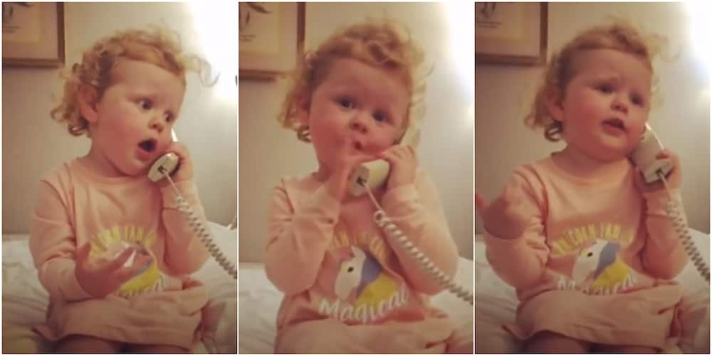 Little girl sends social media into frenzy as she fakes telephone conversation, shows the drama queen in her