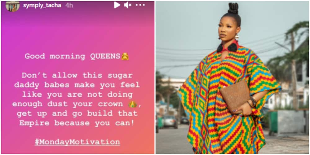 BBNaija's Tacha motivates female fans, says they should not be intimidated by sugar daddy babes