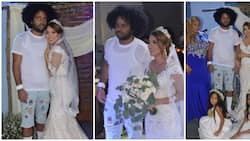 Mixed reactions as Dominican singer weds beautiful bride in ripped denim shorts