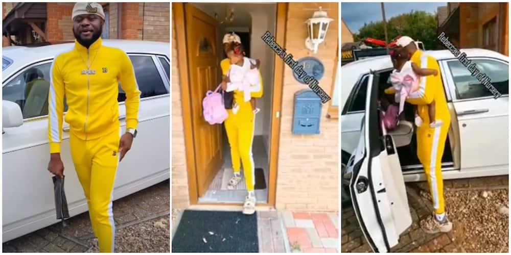 UK-based Nigerian singer takes daughter to her first day at nursery school in Rolls Royce