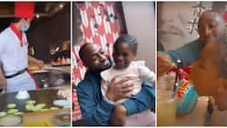 Davido takes daughter Imade on special date to a Chinese restaurant, feeds her sushi in cute video