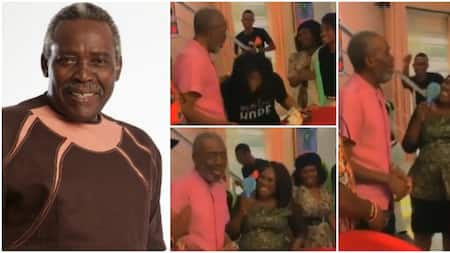 He looks so slim: Nigerians raise voices of concern as Olu Jacobs pays surprise visit to wife on movie set