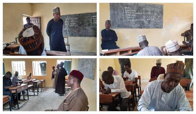 Governor Zulum invigilating the test in Baga, Borno