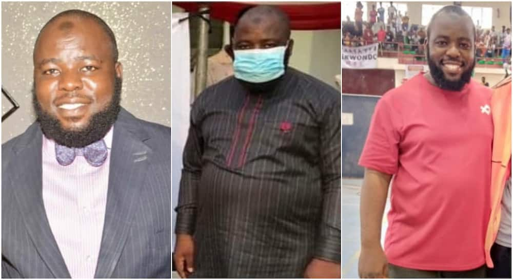 Clothes now look like agbada: Man shares amazing transformation as he sheds away 10kg, photos cause stirs