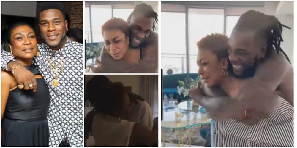 Video shows Burna Boy's mum carrying him on his back as she marked his 30th birthday with heartwarming message
